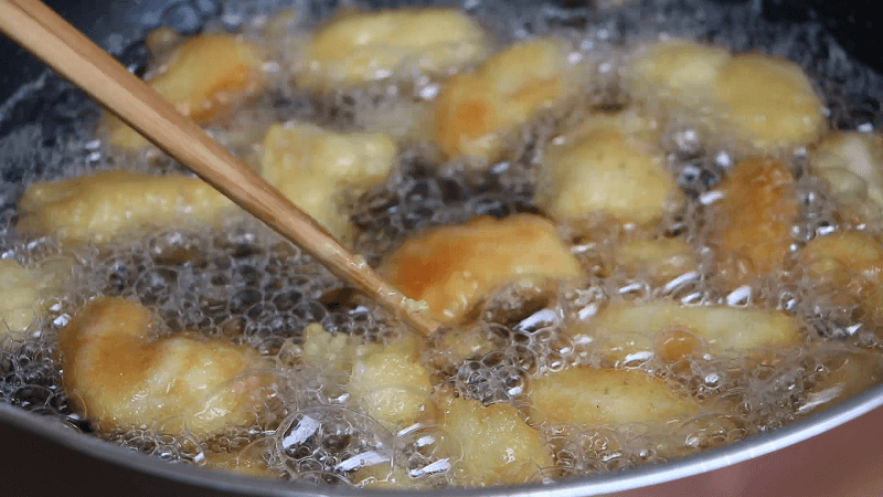 Mix Chicken With Batter And Start Frying