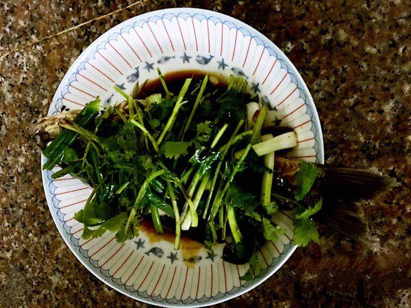 Drizzle with soy sauce.
