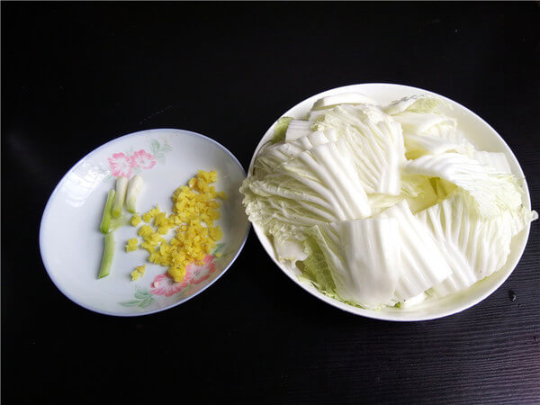 Cabbage cut into sections,