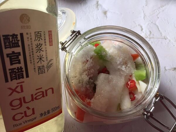 Add sugar and rice vinegar