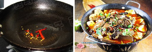 Add dried chili and deep-fried fragrant, drip the fried chili oil in hot pot