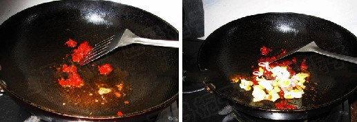 Reheat the pan, add oil