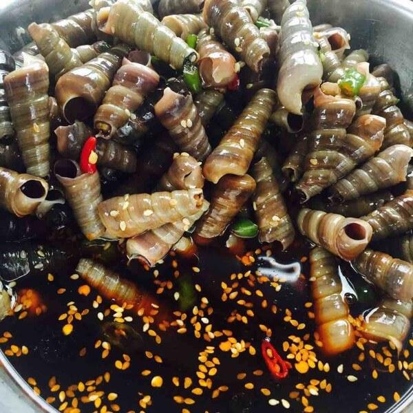 Marinated seafood.
