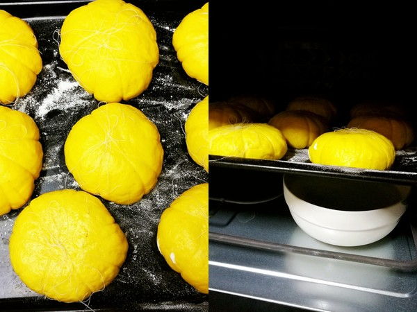 Place the dough in a baking pan, boil a pot of boiling water