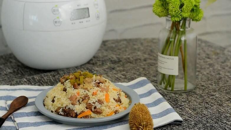 Rice cooker lamb pilaf.