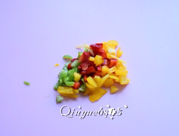 Chop the red, yellow and green bell peppers