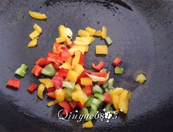 Sauté the bell peppers with olive oil