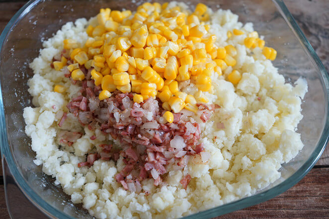 Then pour it on the mashed potatoes and the corn kernels can be put in too.