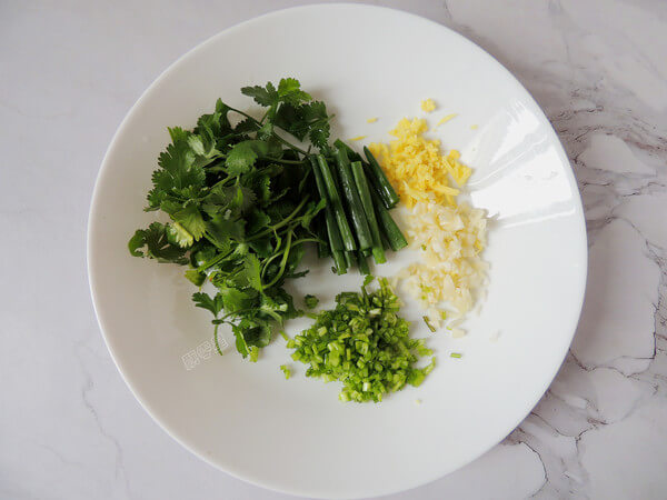 Ginger, garlic, cilantro chopped minced, shallot and cilantro leaves cut into sections.