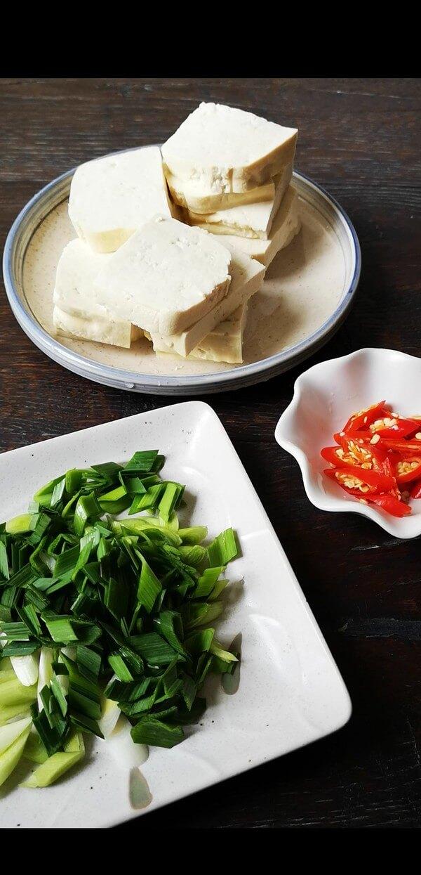 Cut the tofu into thick chunks,