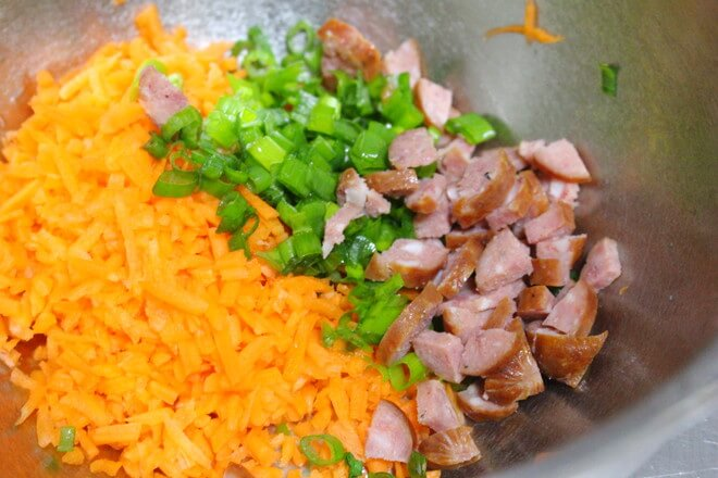 Chopped chives, chopped sausage