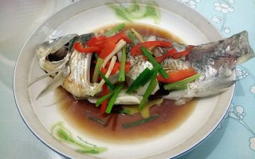 The fish is steamed and ready to eat, very fresh.