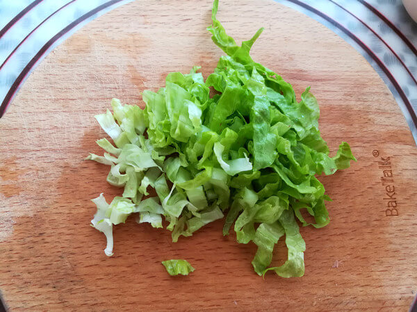 Lettuce washed and cut into shreds