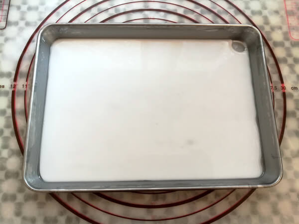 Pour the rice flour batter into the container and fill it as much as possible