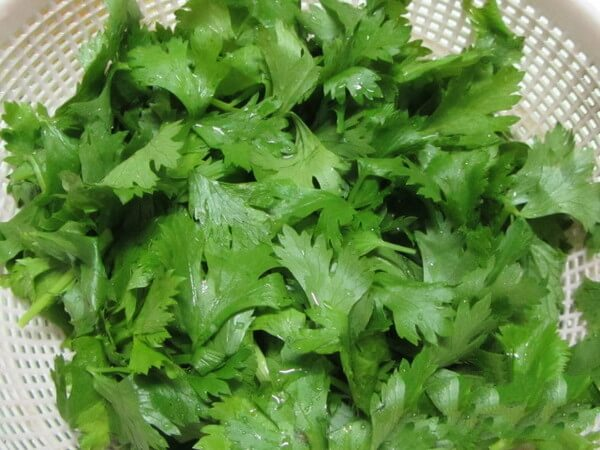 Wash the celery leaves