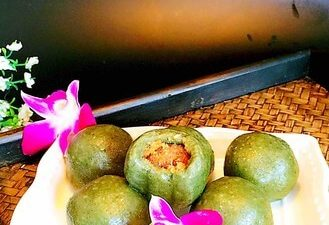 The Traditional Green Rice Ball with Fried Pork Floss and Salted Egg Yolk